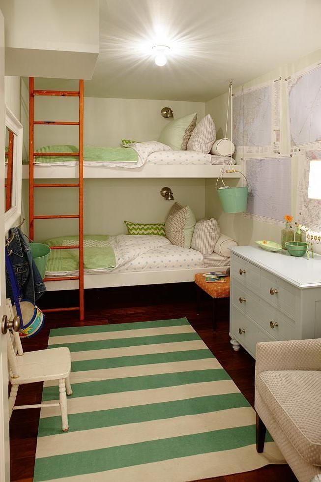 Custom Bunk Bed For Children With A Nice Ladder Design For A Small