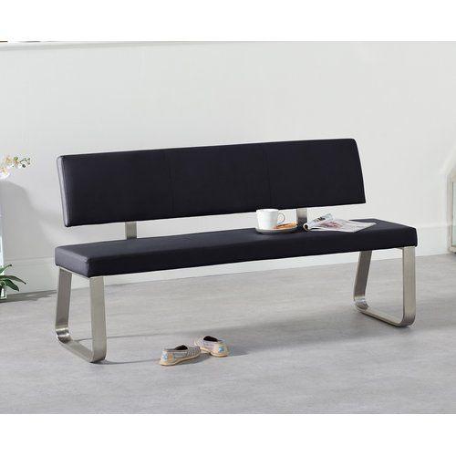 Essgruppe Crovetti mit 6 Stühlen und 1 Bank 17 Stories Farbe (Tisch): Dunkelgrau, Farbe (Stühle): Grau, Farbe (Bank): Schwarz