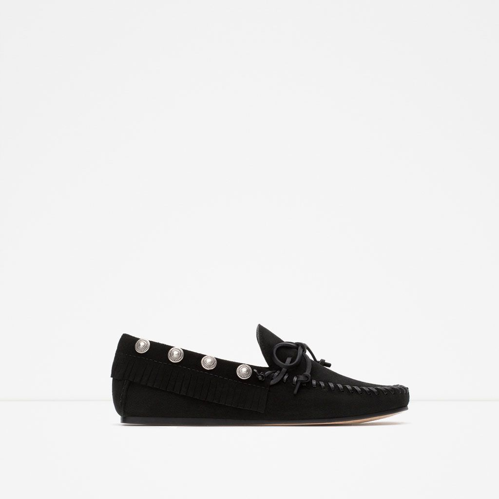 ZARA - COLLECTION AW15 - STUDDED LEATHER LOAFERS