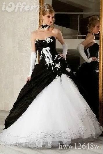 Brand New Black White Corset Wedding Dress Party Gown Love The Tie