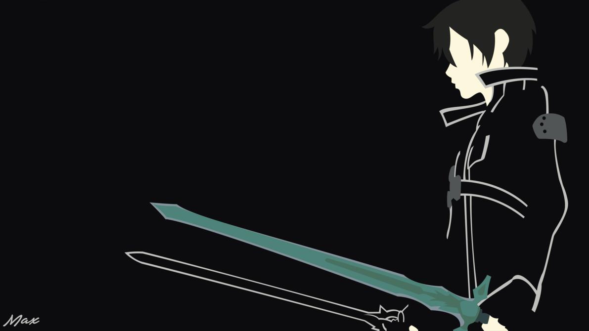 Kirito Black Swordsman Sao Minimal Wallpaper By Max028 Sword Art Online Wallpaper Minimal Wallpaper Sword Art