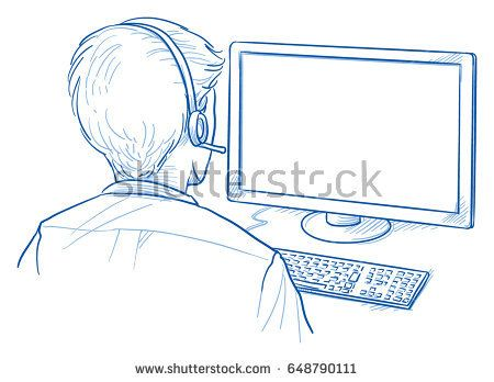 Back View Of A Business Man With Headset In Front Of A Computer
