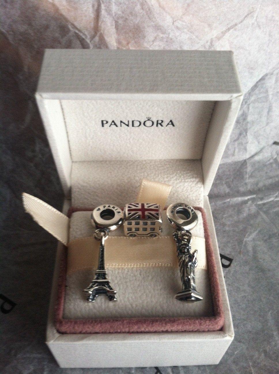 3 Authentic Pandora Travel Dangle Set Bracelet Charms