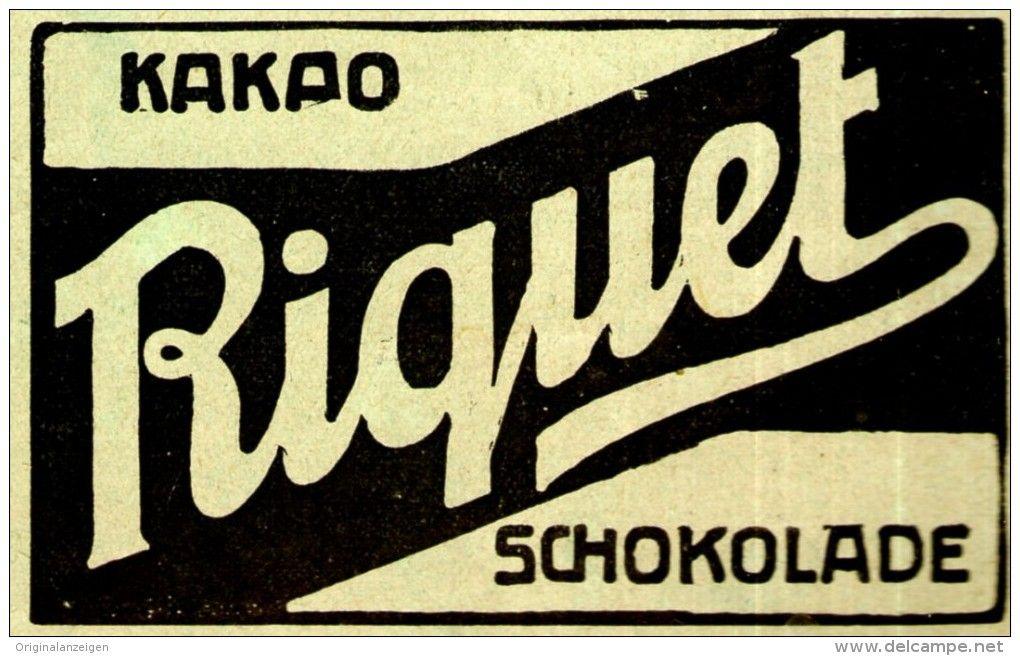 Original-Werbung/ Anzeige 1909 - RIQUET KAKAO / SCHOKOLADE - ca. 80 x 50 mm