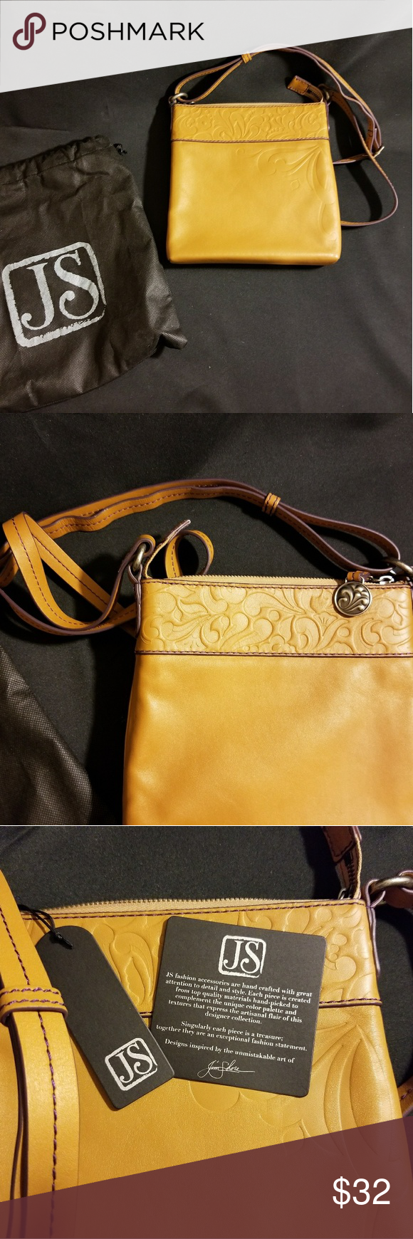 f1a6980785 Tan floral embossed genuine leather crossbody bag