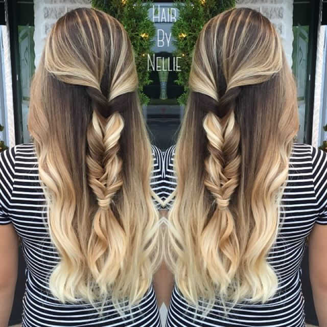 Beautiful balayage blonde with mermaid braid by Nellie Duclos. Hair Painting Ombre Mermaid Hair Braids fb.com/hotbeautymagazine