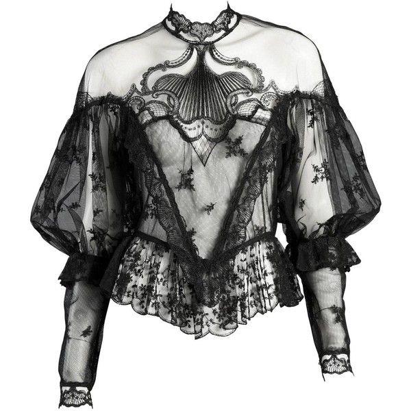 Black lace blouse Black blouse Black lace top Goth top Black top Gothic top Sheer top Gothic blouse Goth blouse Sheer blouse Sheer Shirt M