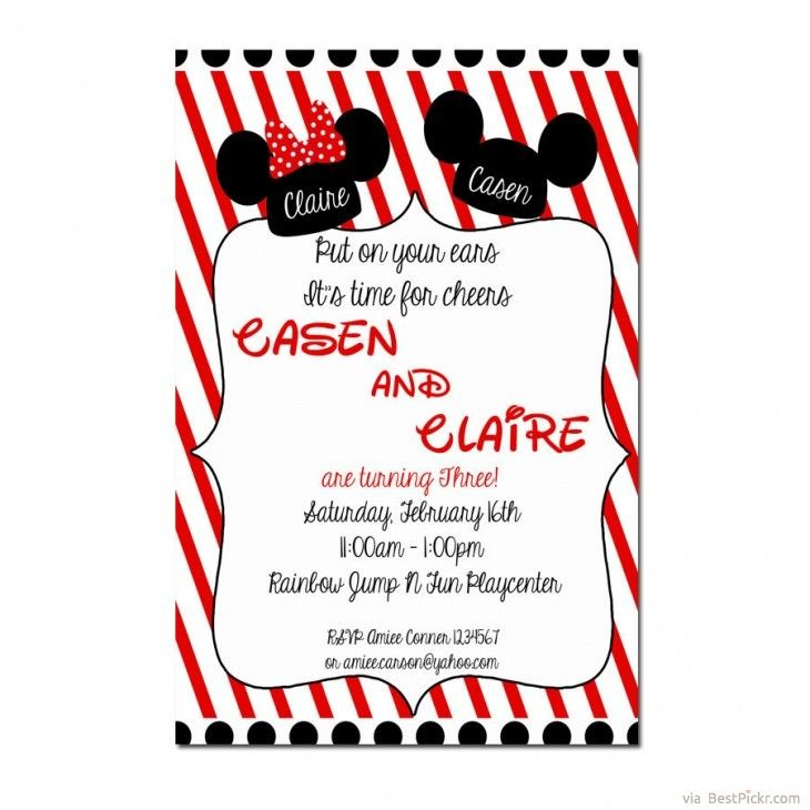 Cool Minnie and Mickey Birthday Invitations Download this invitation - best of invitation for 1st birthday party free