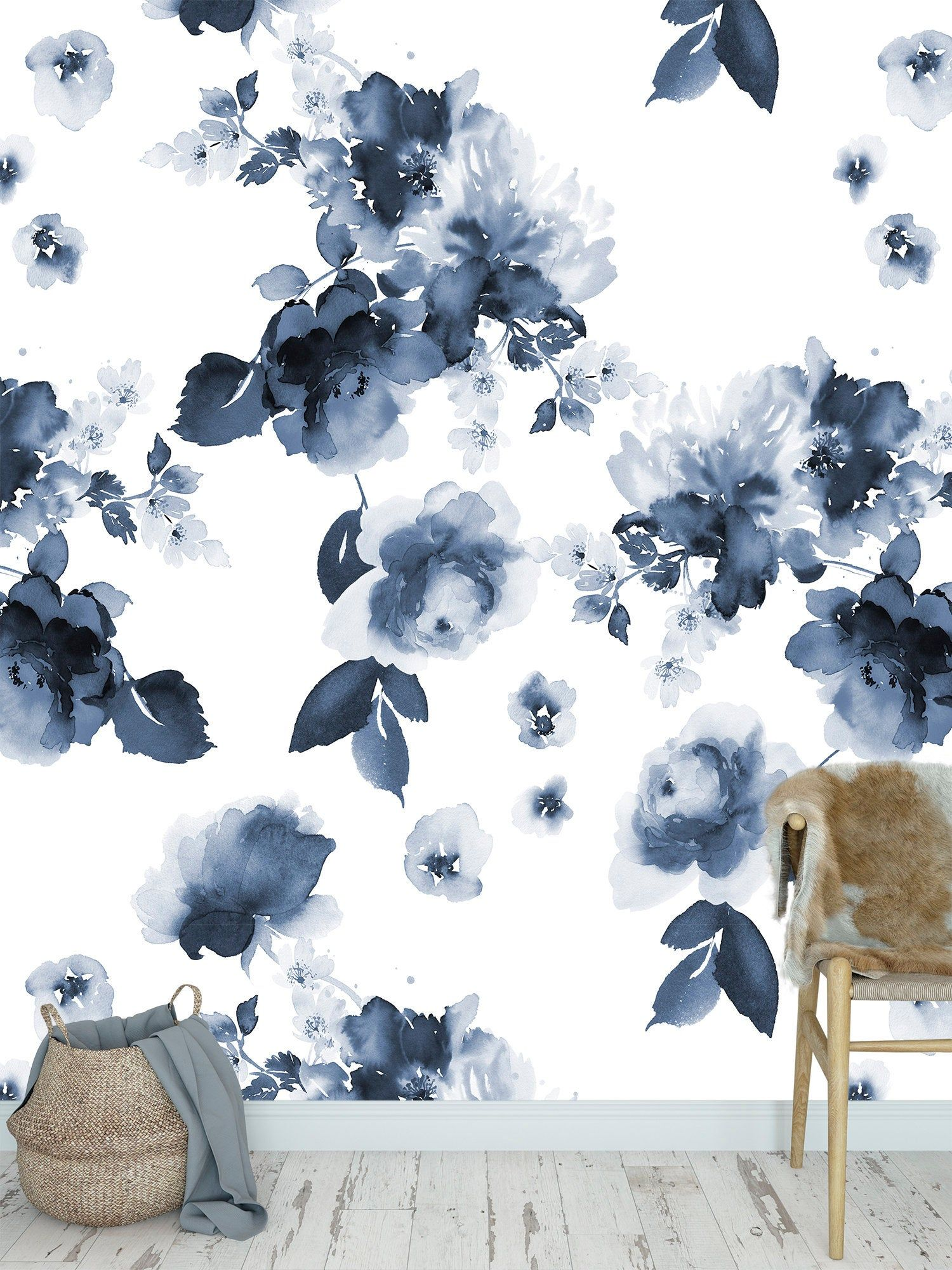 High Quality Peel And Stick Removable Self Adhesive Wallpaper Blue Watercolor Flower Watercolor Flowers Pattern Blue Floral Wallpaper Self Adhesive Wallpaper