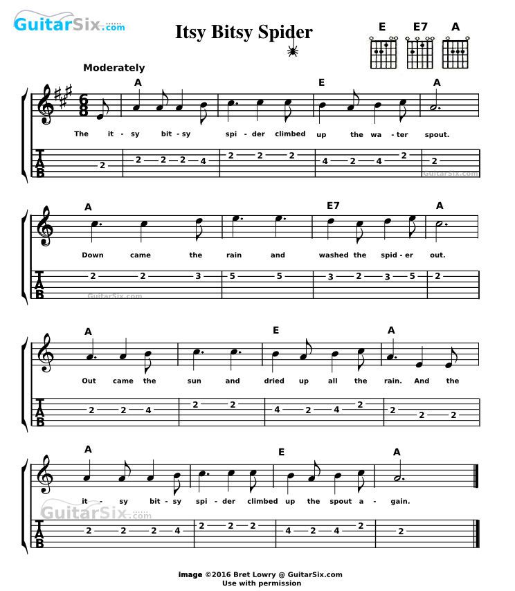 Itsy Bitsy Spider Sheet Music And
