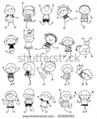 Group of kids,drawing sketch | Drawing | Pinterest | Dibujo, Bordado ...