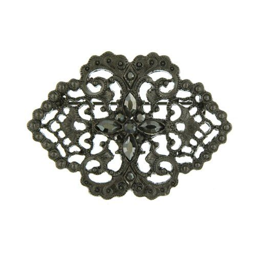 Downton Abbey Jet Lace Filigree Brooch ** Check out @ http://www.amazon.com/gp/product/B00FJ9RR80/?tag=jewelry3638-20&pcd=280716183343