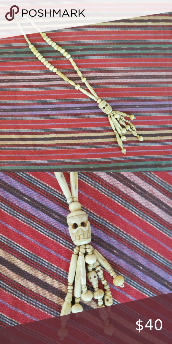 Cool Carved Bone Skull Necklace In 2020 Hippie Bohemian Style Womens Jewelry Necklace Skull Necklace