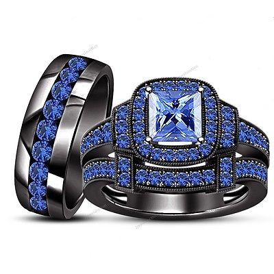 Blue Sapphire 14k Black Gold Bridal Wedding His And Hers Band Trio