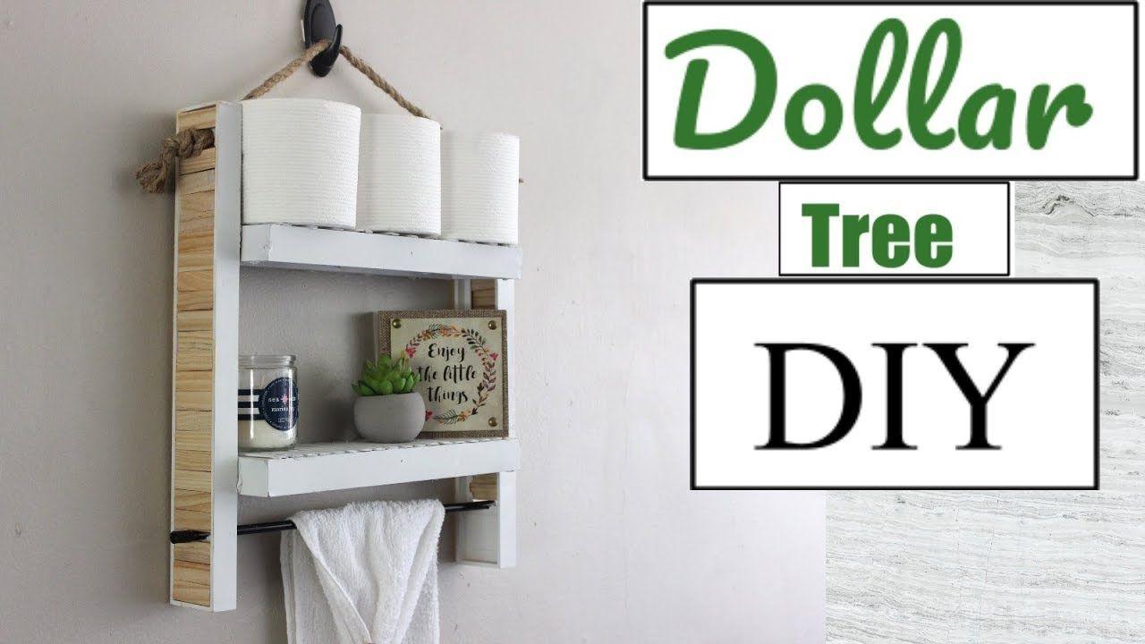 Dollar Tree Diy Hanging Bathroom Shelf Bathroom Decor 2018 Home Decor Ideas In 2020 Hanging Bathroom Shelves Diy Bathroom Storage Dollar Tree Diy