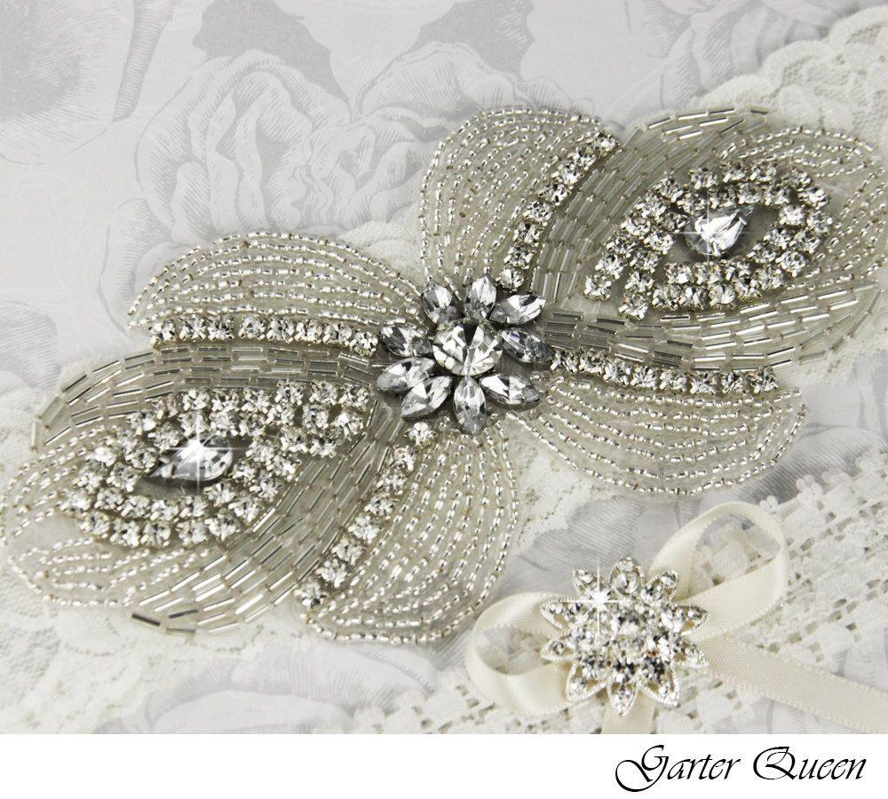 Items Similar To Bridal Garter Wedding Set LIGHT IVORY Stretch Lace Keepsake And Toss Garters Rhinestone Crystal On Etsy