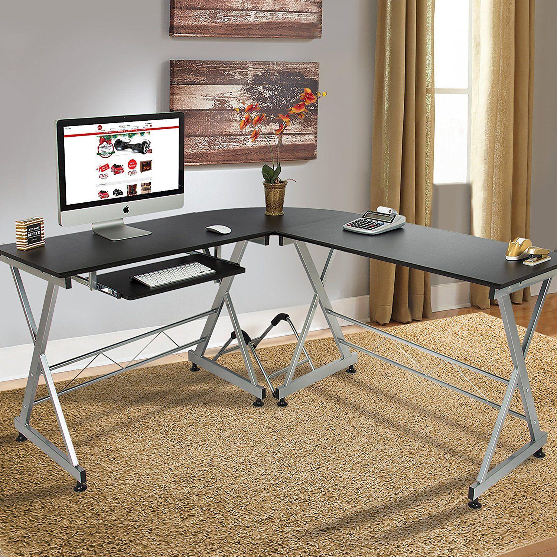 Amazon Com Best Choice Products Wood L Shape Corner Computer Desk Pc Laptop Table Workstation Ho Office Desk For Sale Home Office Computer Desk Desk Furniture