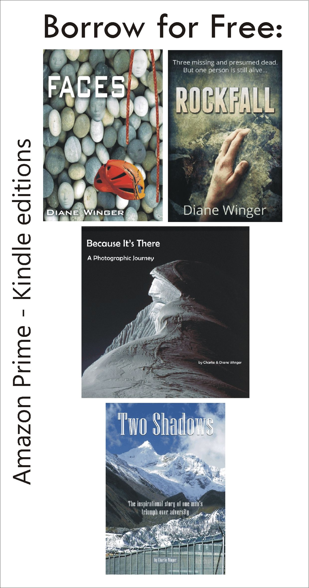 Borrow for free: Faces, Rockfall, Because It's There, or Two Shadows ▲ Books with ALTITUDE
