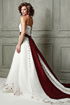 Color Accent Red And White Wedding Dresses Gown Colored Sash Dress
