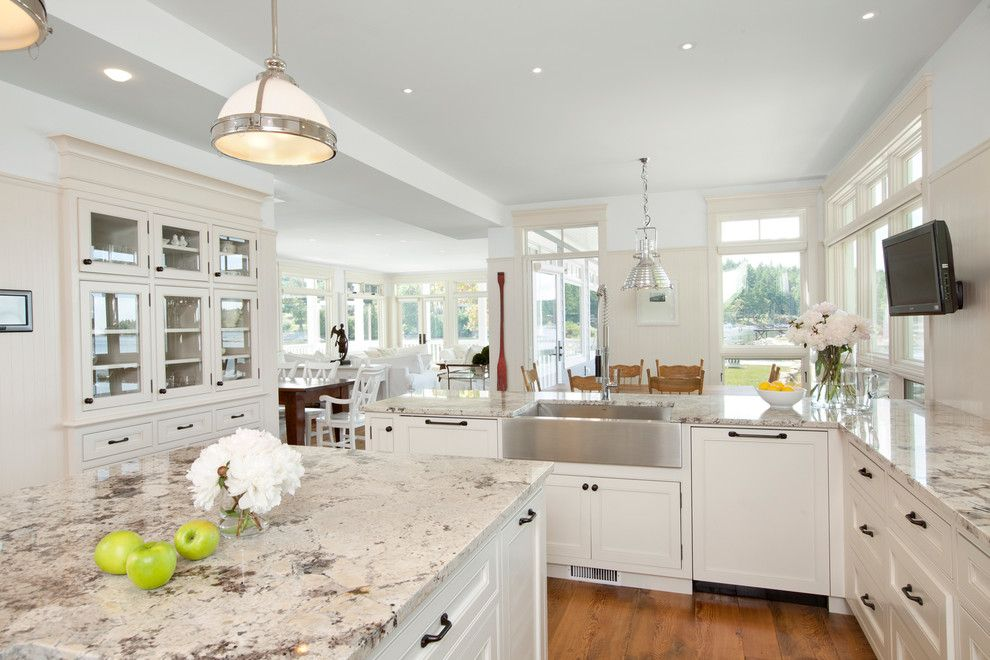 Colonial White Granite Kitchen Traditional With Built In China Cabinet Beige Countertop Antique White Kitchen Antique White Kitchen Cabinets Granite Countertops Kitchen