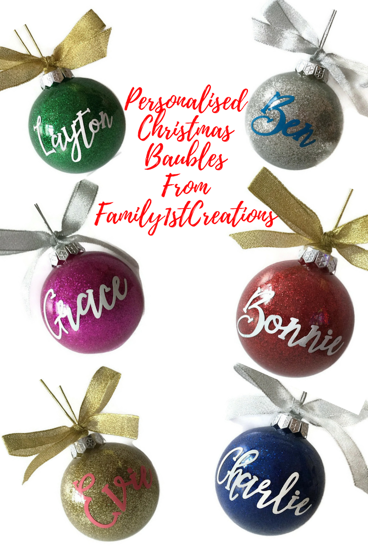 Christmas Tree Decorations Names.Personalised Large Glitter Bauble Christmas Tree Decoration