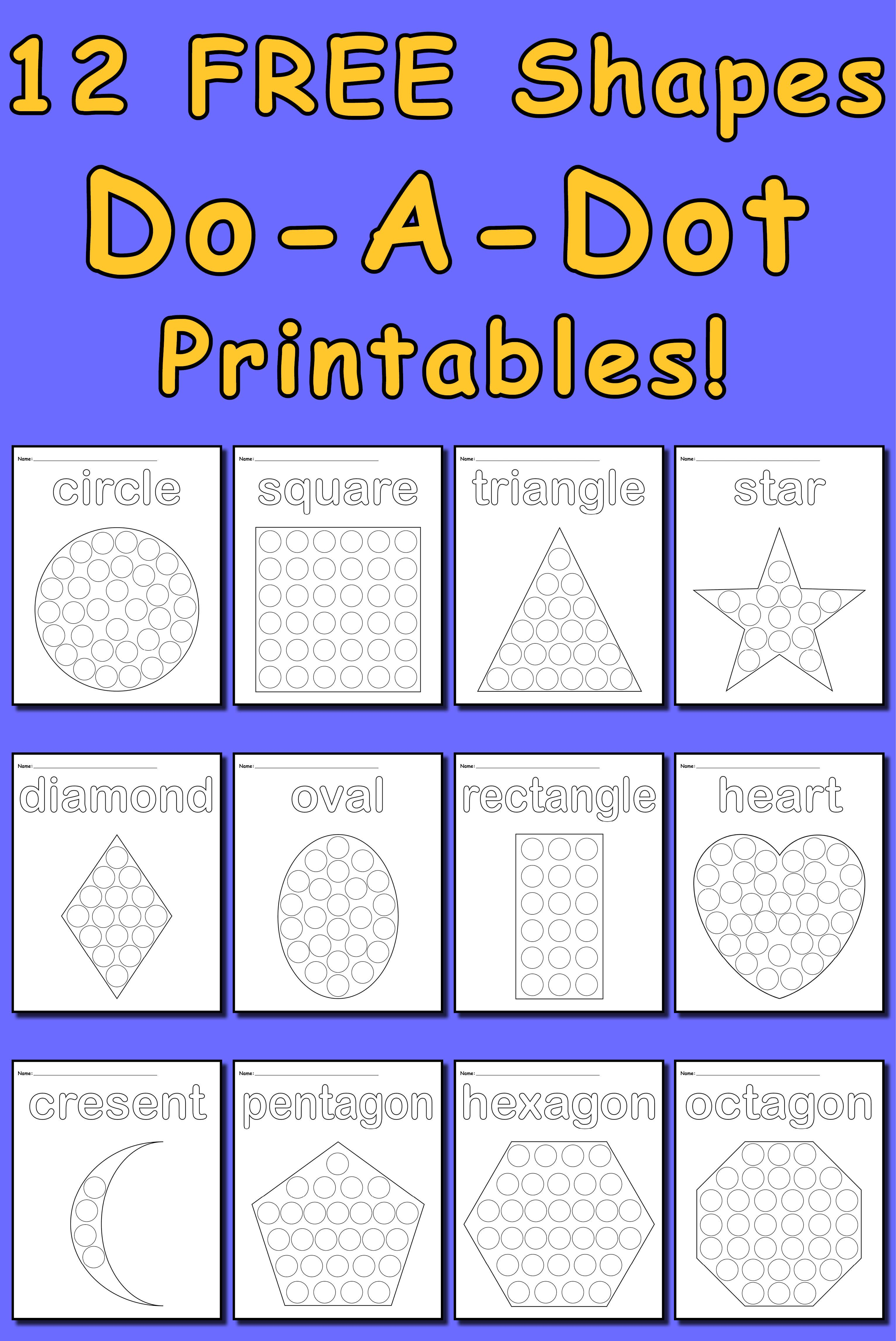 12 FREE Shape Do-A-Dot Worksheets to work on fine motor skills for