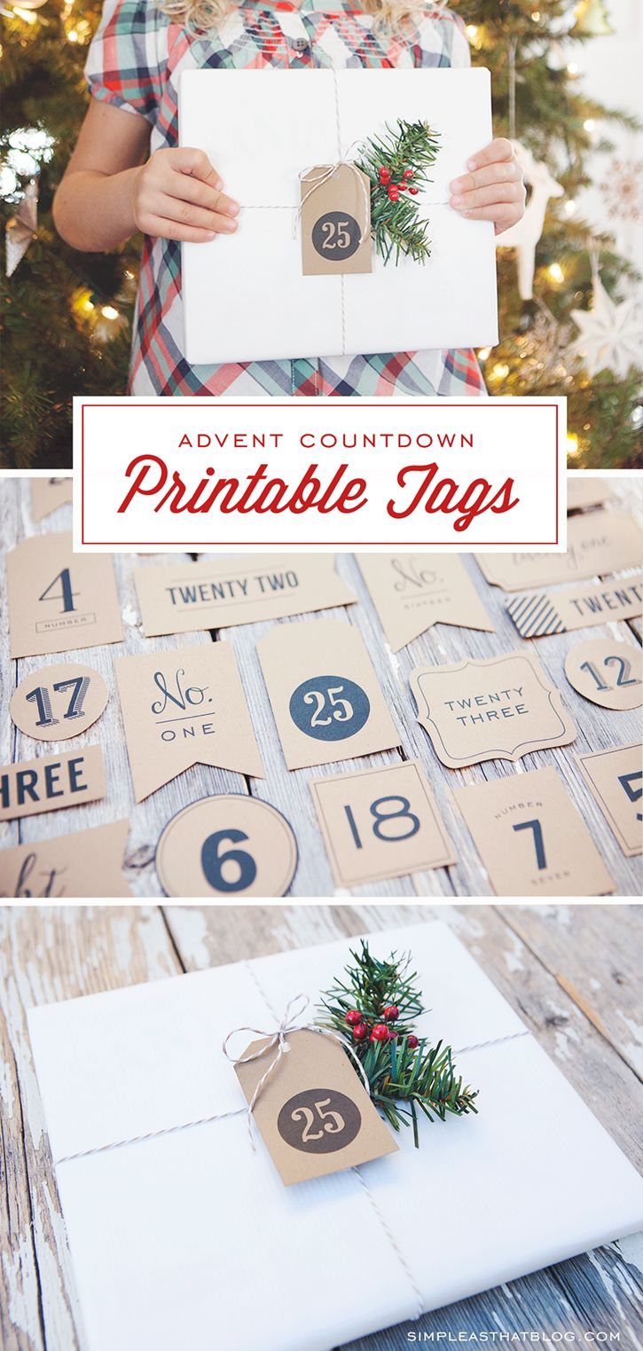 Advent Calendar Christmas Countdown Tags | christmas | Pinterest ...