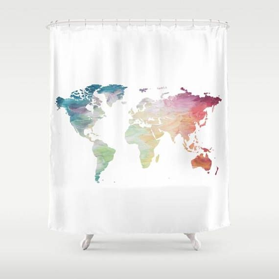 Bon World Map Shower Curtain Rainbow Shower Curtain Globe Bath Decor Wanderlust  Decor Travel Lover Bathroom Accessories Travel Decor By OlaHolaHolaBaby