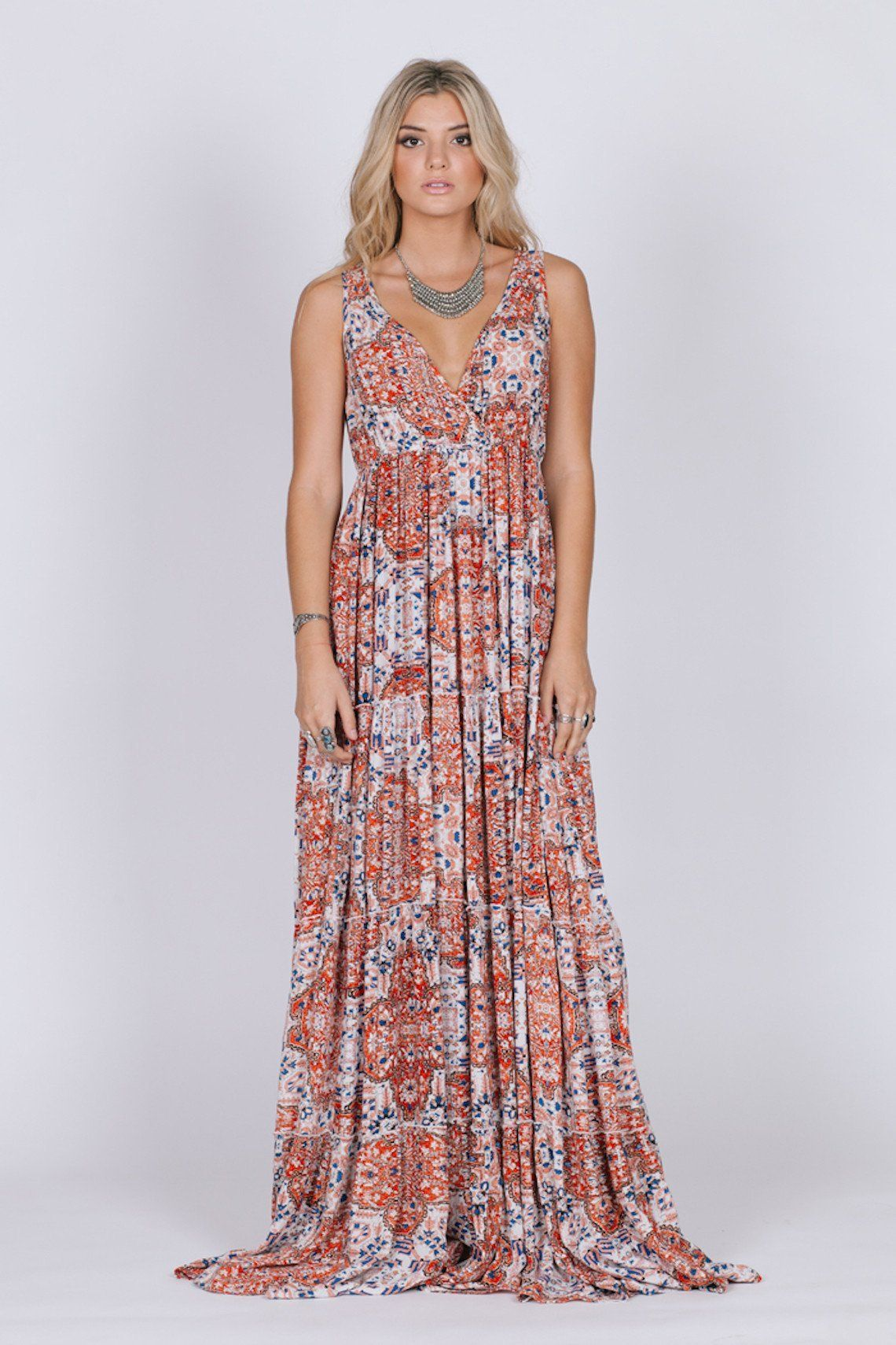 This Piece Is Made Of 100 Viscose Unlined Sleeveless Elasticized Empire Waist Maxi Dress Model Is Wearing A Siz Boho Maxi Dress Maxi Dress Womens Maxi Dresses [ 1710 x 1140 Pixel ]