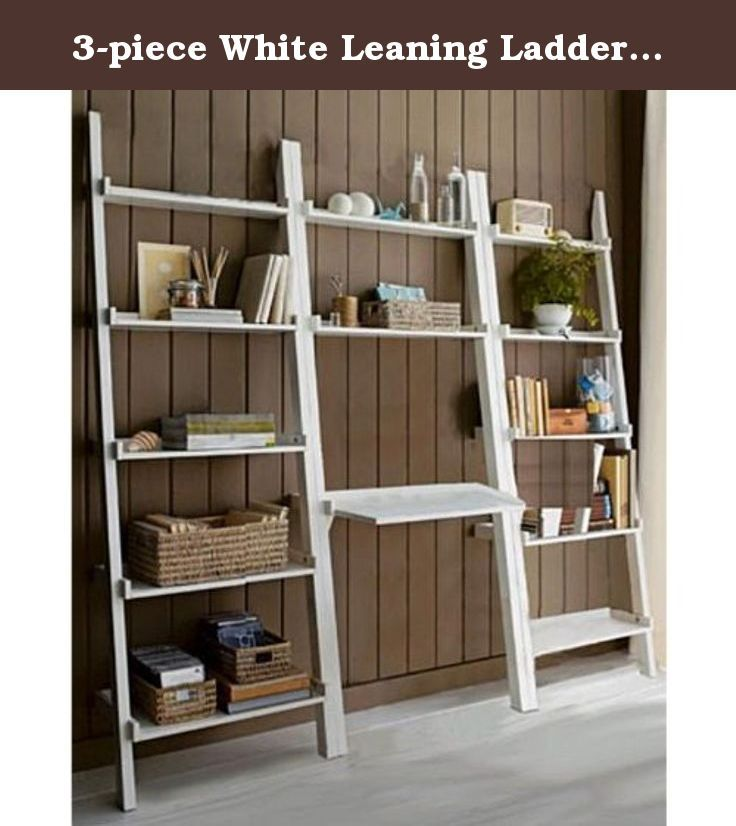 3 Piece White Leaning Ladder Bookshelf With Laptop Desk This Unique Leaning Ladder Book Shelf Has A Beautiful W Home Office Furniture Shelves Ladder Bookshelf