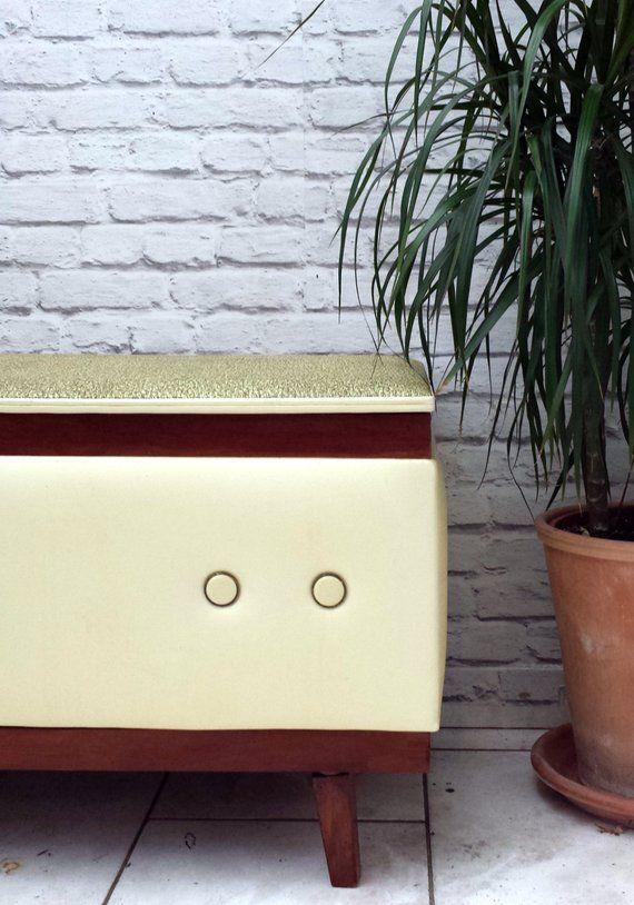 Stupendous Retro Ottoman Blanket Box Bench Seat Linen Toy Storage Chest Inzonedesignstudio Interior Chair Design Inzonedesignstudiocom