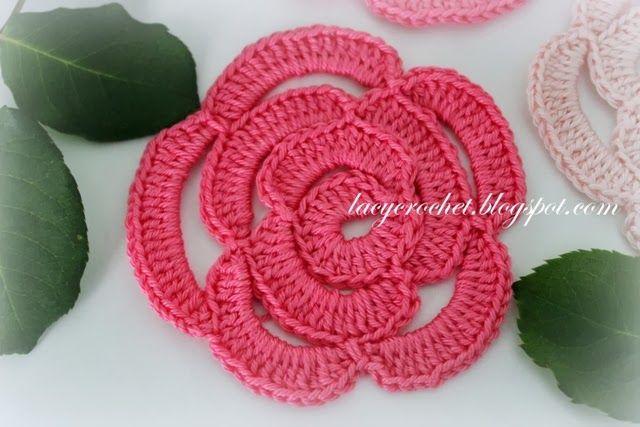 Free Crochet Flower Pattern Lacy Crochet Crochet Rose Tutorial
