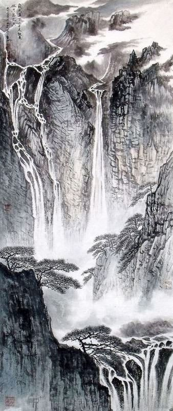 Chinese landscape paintings love these vertical scrolls for Gartengestaltung chinesisch