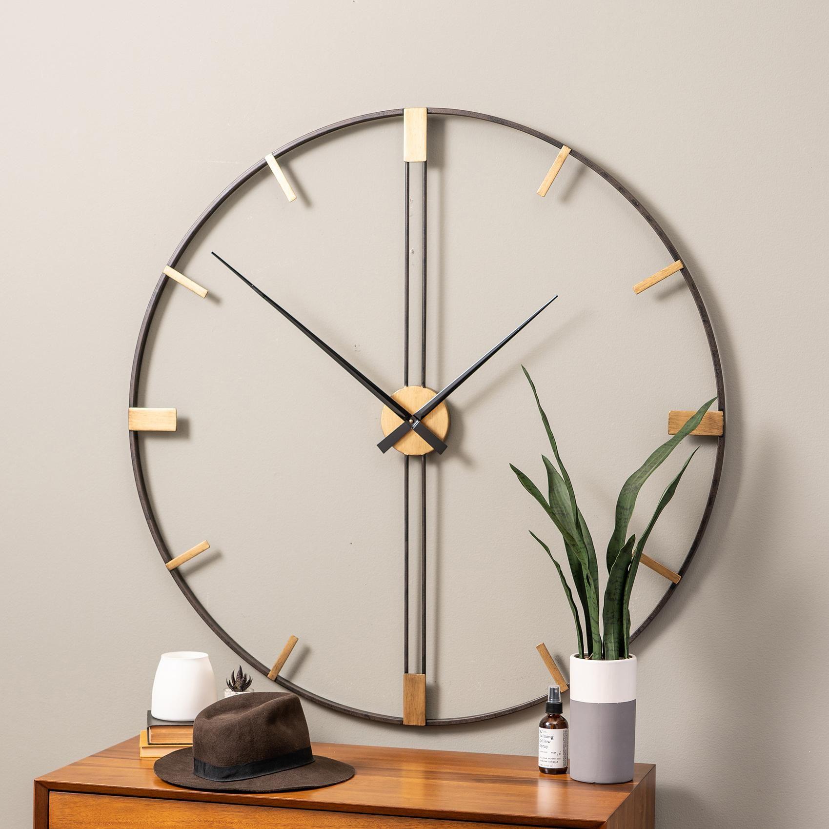 Clocks Camden 41 Wide Black And Gold Modern Open Wall Clock In 2020 Mid Century Modern Wall Clock Wall Clock Clock Wall Decor