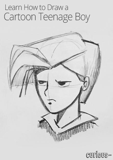 How To Draw A Cartoon Teenage Boy Drawings Cartoon Drawings Sketches Cartoon Girl Drawing