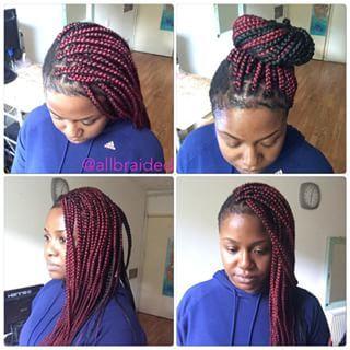 Stupendous Mohawk Style Box Braid On Mohawk Style Hair Used Burgundy And Hairstyle Inspiration Daily Dogsangcom