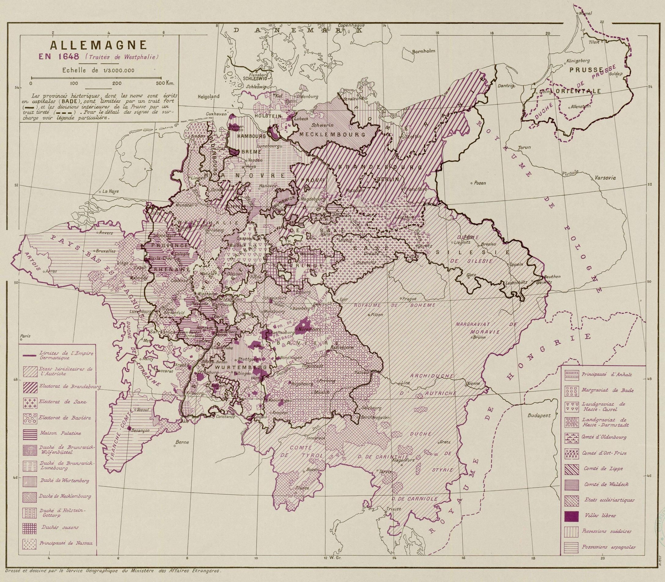 Germany In 1648 Map In French Made In 1947 Map Historical