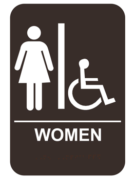 Women S Ada Handicap Braille Restroom Sign Restroom Sign Ada