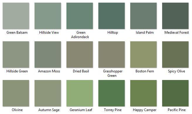 Behr Greens 4 I Like Hillside View Moss And Autumn Sage