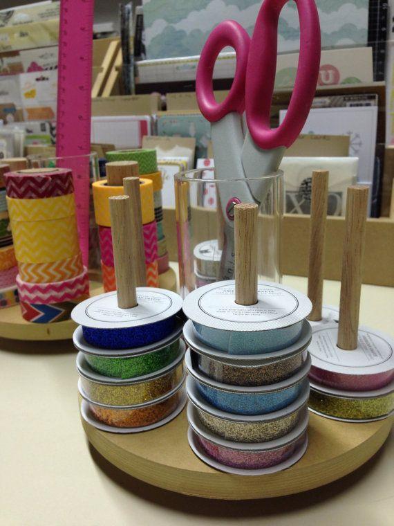 Ribbon Organizer Mini Ribbon Spool Carousel 7 By Pindinc On Etsy
