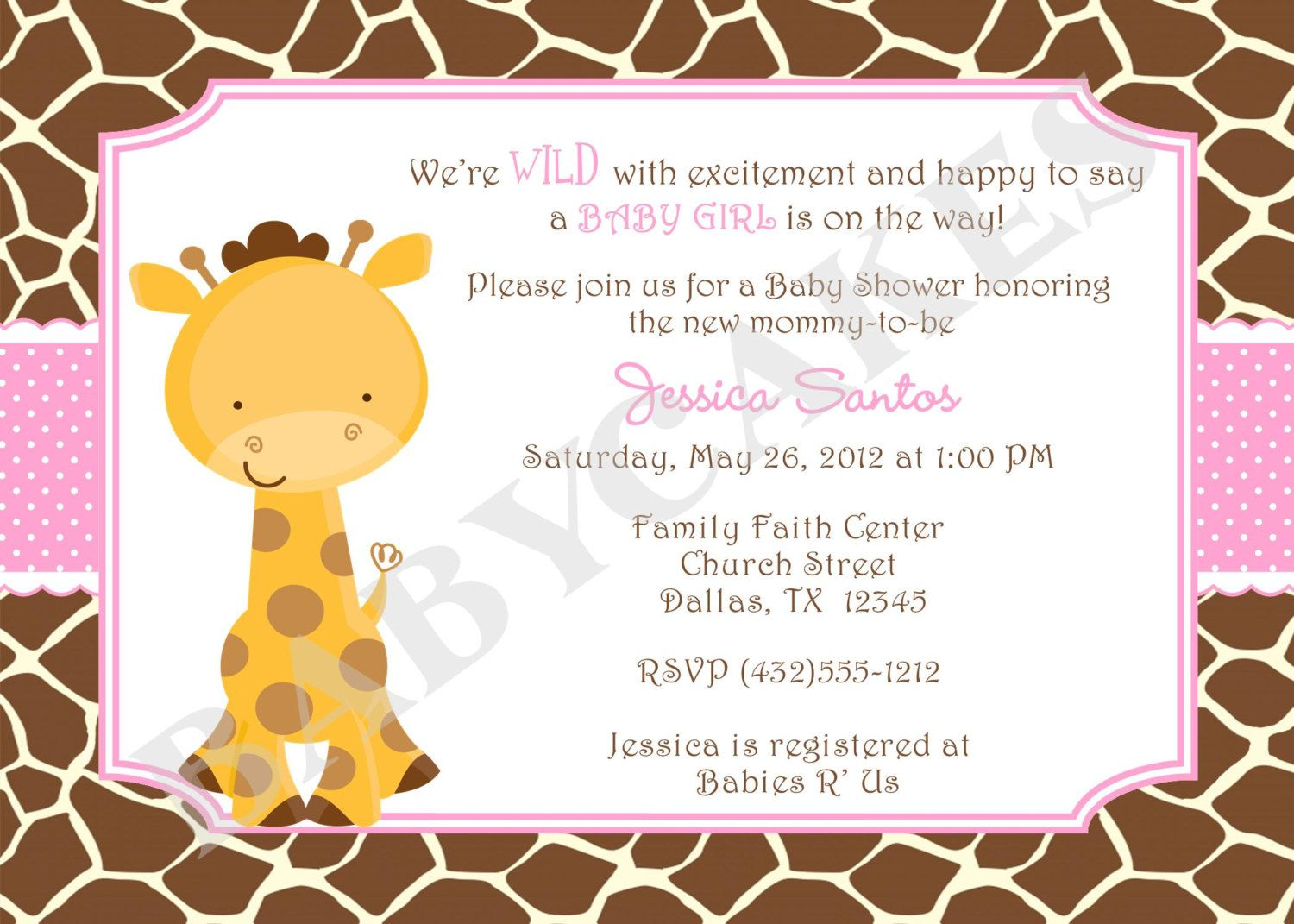 Girl Giraffe Baby Shower Invitation Baby Sprinkle | party planning ...