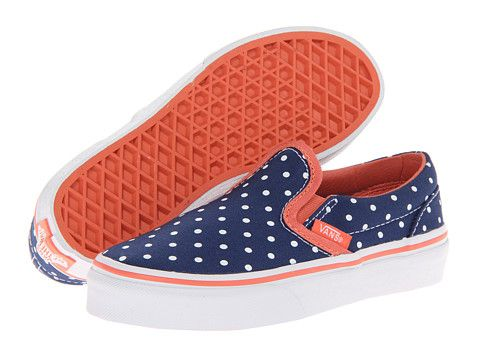 8baa099e64 Vans Kids Classic Slip-On (Little Kid/Big Kid) (Polka Dot) Twilight ...