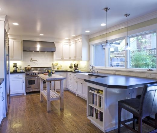 L Shaped Kitchen Designs With Island Kitchen Transitional: A Transitional U-shaped Kitchen Featuring Traditional