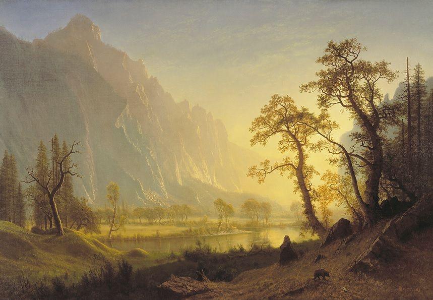 """Sunrise, Yosemite Valley,"" Albert Bierstadt, ca. 1870, oil on canvas, 36 1/2 x 52 3/8"", Amon Carter Museum of American Art."