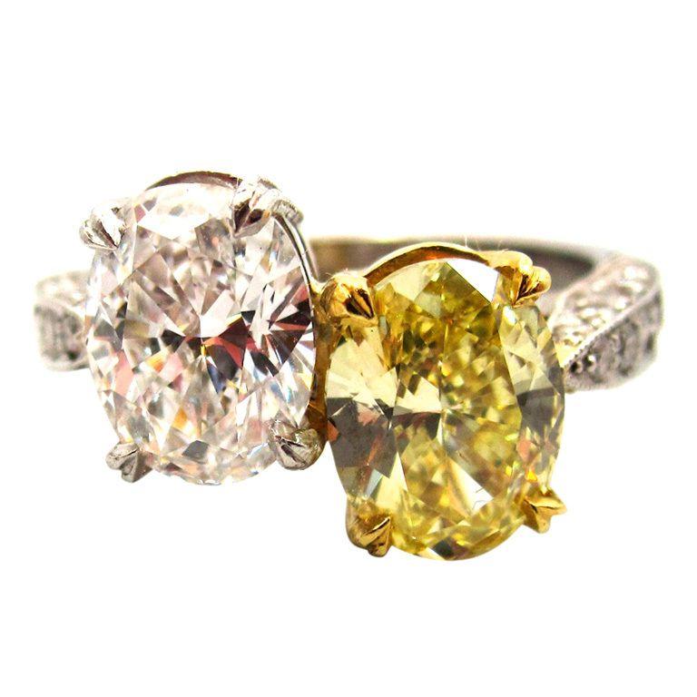 1stdibs   Natural Fancy Yellow & White Diamond Toi et Moi Crossover Ring