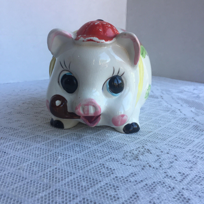 Vintage Ceramic Piggy Bank Made in Japan / Vintage Piggy Bank by ESD ...