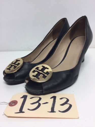 2dd24a4a02d7 1313 Tory Burch Kara Black Leather Peep Toe Wedge Pumps Women s Size ...