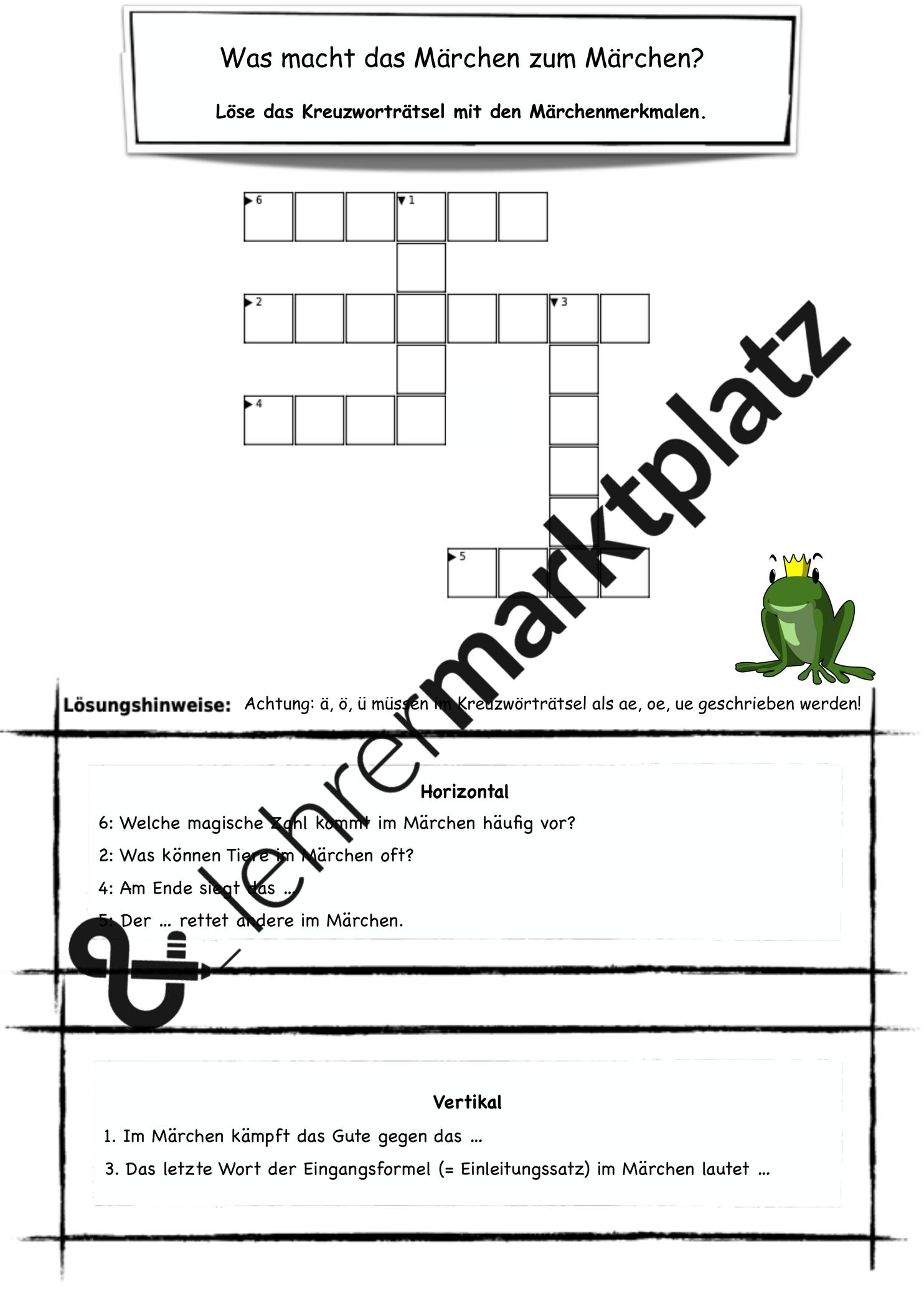 Ratsel Marchenmerkmale Unterrichtsmaterial Im Fach Deutsch In 2020 Unterrichtsmaterial Zusammenfassung Kreuzwortratsel