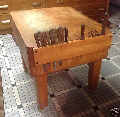 Vintage Antique Chicago Stockyards Era Maple Meat Butcher Block Table Tops