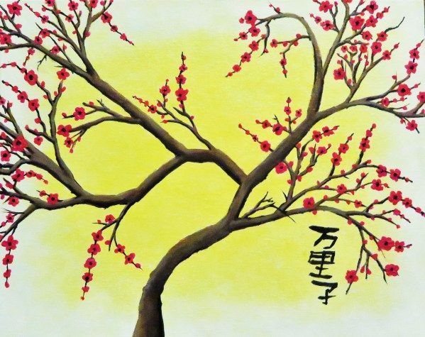 Cherry Blossom On Yellow Paulruskin Cherry Blossom Original Art Blossom